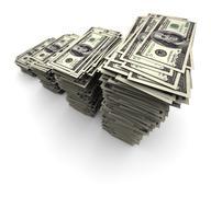 One Hundred Thousand Dollars - Bills Stack - stock illustration