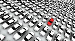 Hundreds Of Cars, One Red! - stock illustration