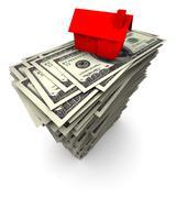 House Sitting On Stack Of Hundred Dollar Bills - stock illustration