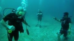 Scuba divers bottom Banderas Bay Puerto Vallarta Mexico HD 0014 Stock Footage