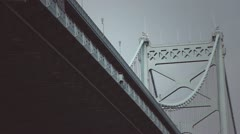 Train Crosses over the Ben Franklin Bridge - stock footage