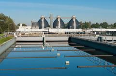 waste water plant - stock photo