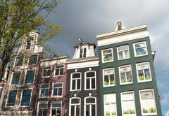 Typical amsterdam houses Stock Photos