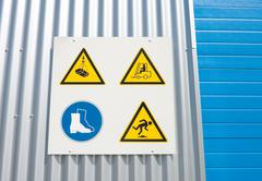 Industrial warning signs Stock Photos