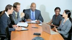 Successful Multi Ethnic Business Team Good News  Stock Footage