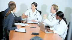 Multi Ethnic Medical Team Concluding Meeting Pharmaceutical Executives Stock Footage