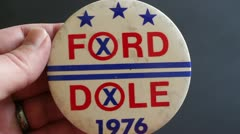 Ford Dole Political Pin Button Stock Footage