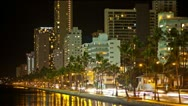 Stock Video Footage of Riverside Traffic Time Lapse Palm Trees 4K, Honolulu, Hawaii,