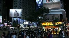 Shopping Area, Causeway Bay, Hong Kong Crowds Rush Hour Night Traffic Jam Stock Footage