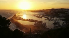 Beautiful view of the sunset over the bay of Santa Maria di Leuca, Italy - stock footage
