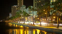 Riverside Traffic Time Lapse Palm Trees 4K, Honolulu, Hawaii, - stock footage