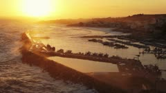 Beautiful view of the sunset over the bay of Santa Maria di Leuca, Italy Stock Footage