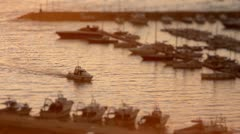 Timelapse of White Motor Boat Arriving at marina Stock Footage