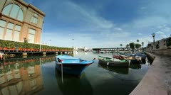 Fishing boats moored in the harbor of Bari, Italy - stock footage