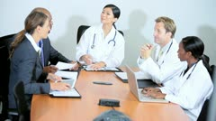 Pharmaceutical Sales Team Concluding Meeting Hospital Consultants Stock Footage