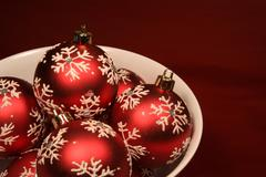 bowl of red xmas balls - stock photo