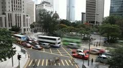 Car Traffic Bus, Hong Kong Island Skyline, Aerial View of Central, Time lapse Stock Footage