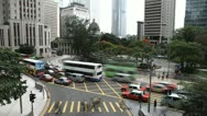 Stock Video Footage of Car Traffic Bus, Hong Kong Island Skyline, Aerial View of Central, Time lapse