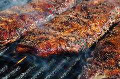 bbq ribs on  grill - stock photo