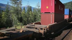 Travelling Past Freight Train Stock Footage