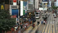 Stock Video Footage of Shopping Area, Crowded Street, Hong Kong Crowds Rush Hour Car, Bus Traffic