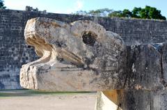 Chichen itza  mayan statue close up Stock Photos