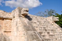 temple of the jaguars and eagles at chichen itza mexico mayan ruins - stock photo