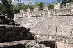 coba mexico ancient mayan court game - stock photo