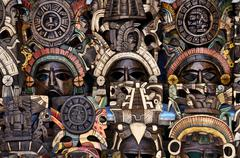 Mayan wooden masks for sale Stock Photos