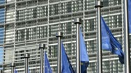 Stock Video Footage of Flags of the European Union at the EU Commission in Brussels, Belgium