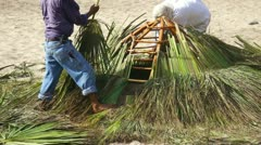 Palapa construction Stock Footage