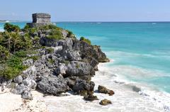 Mayan ruins tulum mexico Stock Photos
