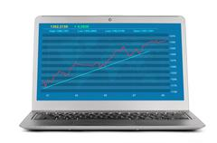 Growth financial graph on the screen of laptop computer Stock Photos
