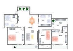 home floor plan - stock illustration