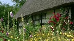 Old olkikattoiset talo kaunis puutarha - Itämeri, Pohjois-Saksassa Arkistovideo