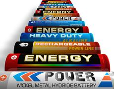 Row of different AA batteries Stock Illustration