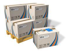 Cardboard boxes on pallet Stock Illustration