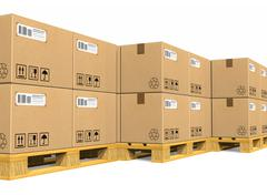 Stacks of cardboard boxes on shipping pallets Stock Illustration