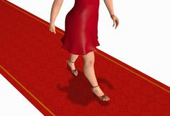 Woman walking by the red carpet Stock Illustration