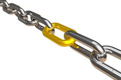 Steel chain with golden link Stock Illustration