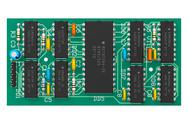 Digital circuit board with microchips Stock Illustration