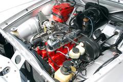 Oldtimer chrome engine.jpg Stock Photos