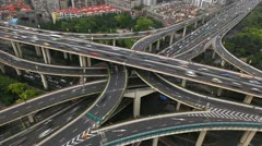 Aerial Freeway Busy City Rush Hour Heavy Traffic Jam Highway Shanghai timelapse Stock Footage