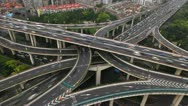 Stock Video Footage of Aerial Freeway Busy City Rush Hour Heavy Traffic Jam Highway Shanghai timelapse