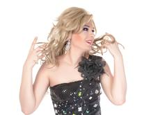portrait of drag queen. man dressed as woman - stock photo