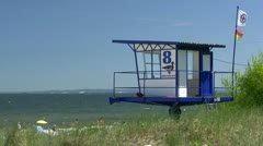 Lifeguard Tower on Usedom Island - Baltic Sea, Northern Germany Stock Footage