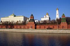 river and kremlin - stock photo