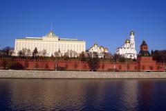kremlin red walls and palace - stock photo