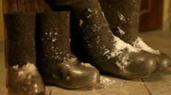 Felt boots, valenki Stock Footage