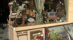 Antique market window in  street Stock Footage